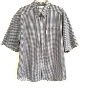 Columbia button front short sleeve shirt M